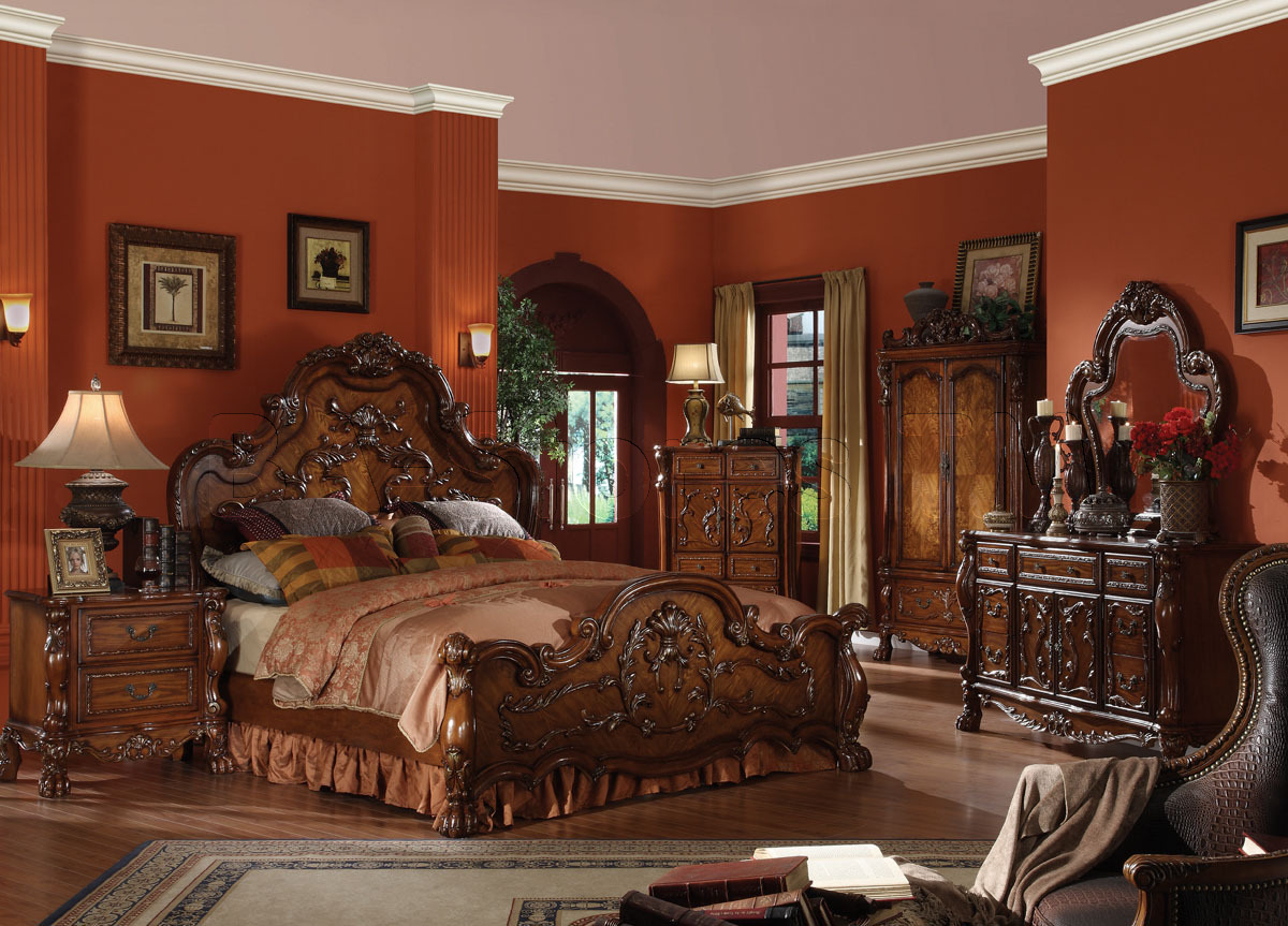 dark traditional ornate bedroom
