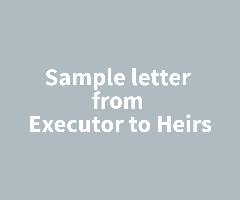 Sample Letter From Executor To Heirs